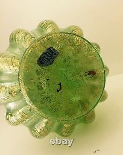 Murano Art Glass Barovier Toso Cordonato d'Oro Murano Golden Ropes Vase 8 1950s