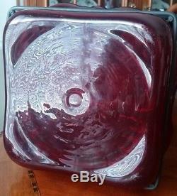 Murano Caged Art Glass Bottle Decanter FLOOR VASE Ruby Red HUGE 28