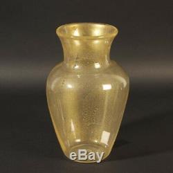 Murano Glas Vase Seguso Vetri D´Arte Goldstaub ca. 1950 rund Italien glass