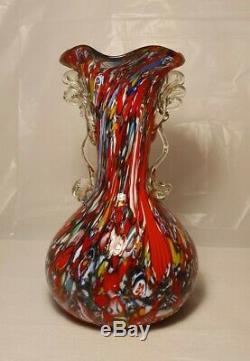 Murano Millefiori Art Glass Red Vase With Handles