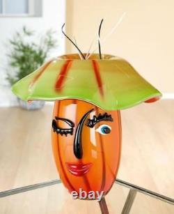 Murano Sommerso Italian Art Glass Fazzoletto Abstract Face Vase Badioli 12Tall