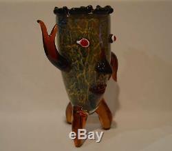 Murano Style Whimsical Art Glass Face Vase