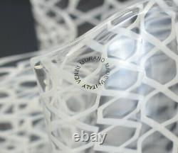 Murano Venini Art Glass Latticino Handkerchief Vase, 20th Century Signed