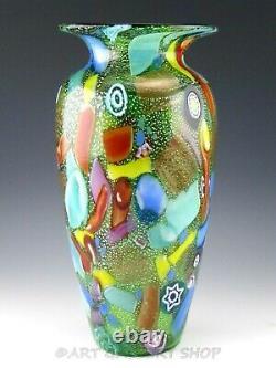 Murano Vetreria Pitau Italy Art Glass 13-3/4 LARGE MILLEFIORI VASE Excellent