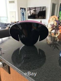 NR! Formia Murano Large Handblown Art Glass Shell Bowl Vase Black Pink Italy
