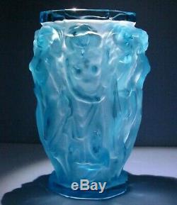 Nudes Bacchantes Teal Vase ZBS Halama Art Nouveau Deco Czech Bohemia Glass #469