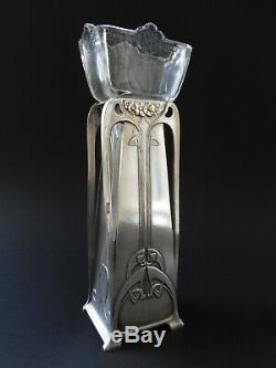Original Wmf Jugendstil Vase Art Nouveau Floral 1900 Kristallglas Glass Liner