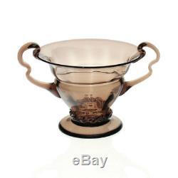 Orrefors Simon Gate Art Nouveau Smoke-Topaz Vase with Rigaree 1918