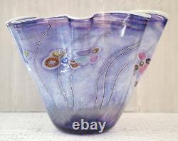 PAUL ALLEN COUNTS Monumental Indigo Blue Ocean Floor Vase Signed Art Glass