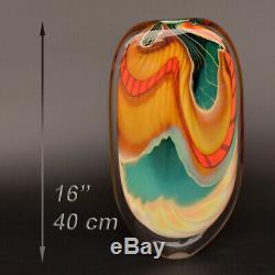 PETER LAYTON stunning art glass vase series GREEN PARADISO 40 cm / 16 inch