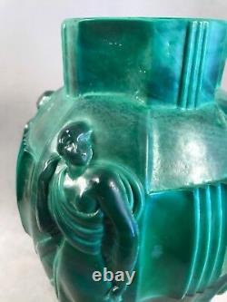 PV03141 Art Deco Malachite Glass Arthur Plewa INGRID Draped Nudes Vase by Riedel