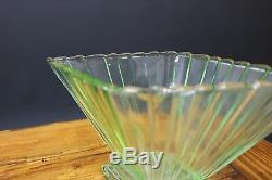 Pair Art Deco Bagley 1333 Green Glass Vases & Frogs Stunning 1920s 1930s