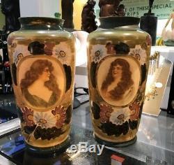 Pair Of Art Nouveau Glass Vases