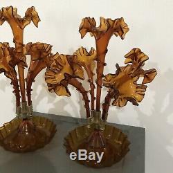 Pair / Set Of Antique Victorian Era Art Glass Amber Epergne Vase 4 Horns, CB15
