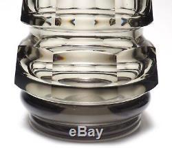 Pair of Moser Art Glass Smokey Grey Octagonal Vases
