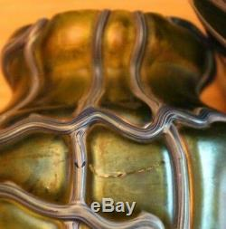 Paire de vase loetz kralik orivit en verre irisé art nouveau iridescent glass