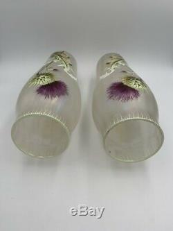 Paire grands vases verre Art Nouveau décor émail chardons Glass enameled thistle