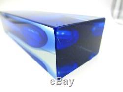 Poli seguso era Murano block cut sommerso blue in blue art glass faceted vase