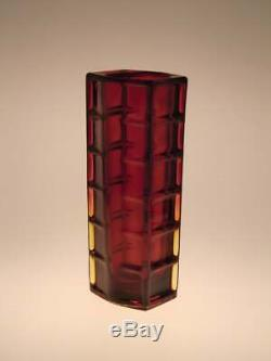 Polish Art Glass Vase Red Amber Drost Zabkowice 1970s Poland Vintage Retro 70s