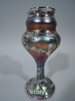 Quezal Vase Antique Art Nouveau American Art Glass & Silver Overlay
