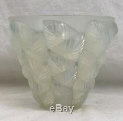 R. Lalique French Art Glass Vase. Moissac. Pale Blue Opalescent. 5-1/4