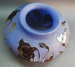 RARE 9 DEGUE BLUE & ORANGE FRENCH ART DECO GLASS VASE c. 1920s antique