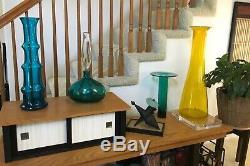 RARE Blenko Wayne Husted 5716 Art Glass Vase 20 Teal 1957 Mid Century Modern