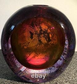 RARE Colorful GORAN WARFF KOSTA BODA Sweden Signed Glass Vase / Paperweight