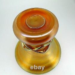 RARE L. C. Tiffany Exquisite Gold Iridescent Art Glass Criss-Cross Pattern Vase