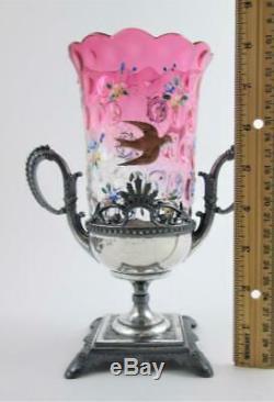 RUBINA art glass CELERY VASE 3 Enamel BIRDS James W. TUFTS Quadruple Silver