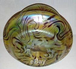 Rare Antique Kralik Green Phanomen Iridescent Bohemian Art Nouveau Glass Vase