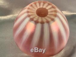 Rare Antique Steuben Oriental Poppy Art Glass Vase Cranberry Stripe Free Us Ship