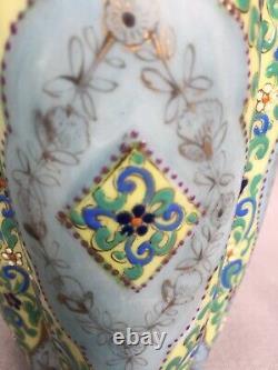Rare Antique Thomas Webb Moroccan Enamel Art Opaline Glass Vase Bohemian
