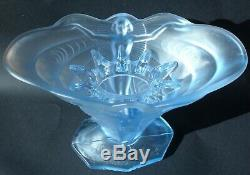 Rare Art Deco Part Frosted Blue Pressed Glass Schmetterling Vase Walther & Sohne
