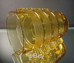Rare Pierre D'Avesn Amber Art Deco Banded Glue Chip Vase Daum Freres France 1935