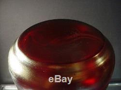 Rare Rindskopf Art Glass Blood Red Striated Iridescent Vase 12H Art Deco Czech