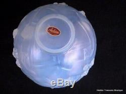 Rare Sabino Les Abeilles Beehive French Opalescent Blue Art Glass Vase Signed