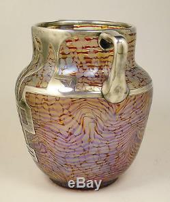 Rare Sterling Overlay HECKERT Art Glass Vase OTTO THAMM Design c. 1902 Loetz Era