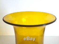 Rare Vintage 1957 MCM Blenko Jonquil Yellow Monumental XL Art Glass Floor Vase