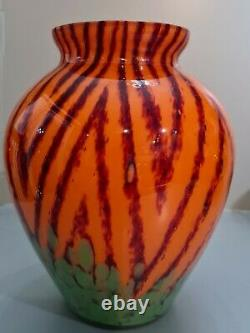 Rare Vintage Czech Art Deco Kralik Welz Herringbone Vase