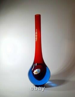 Rare Vintage Flavio Poli 1970s Murano Venetian Rich Sommerso Art Glass Bud Vase