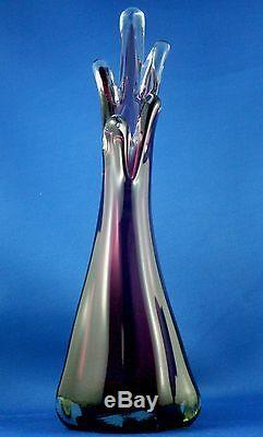 Rare Vintage MURANO Italy AMETHYST ART GLASS Handmade Finger Vase VG