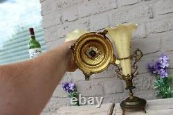 Rare top Antique French art nouveau pair glass enamel hand paint bird vase