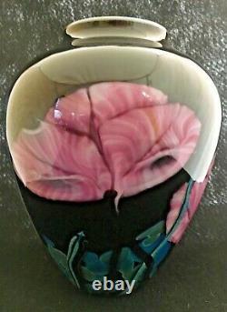 Richard Rick Satava Art Glass Vase with Pink Poppies