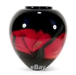Richard Satava Chico California Studio Art Glass Poppy Vase Abstract Red Poppies