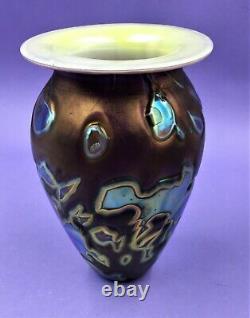 Robert Eickholt Art Glass Oilspot Vase- Mirror Turquoise/ Iridescent Purple