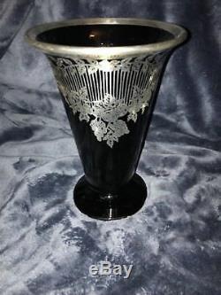 Rockwell Art Deco Silver Overlay Black Amethyst Glass Vase Foliage Scrolls 8