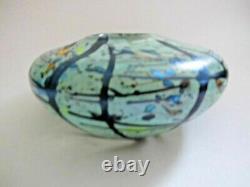 SIGNED PETER LAYTON British Studio Art Glass vase 15cm wide