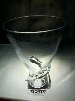 STEUBEN Glass SPIRAL TWISTED VASE Signed Lead Crystal Art