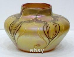 STUNNING! 1976 ORIENT & FLUME Studio Art Glass PULLED FEATHER IRIDESCENT Vase